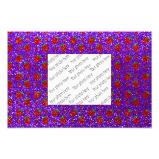 Indigoblått purpurfärgat jordgubbeglitter fototryck