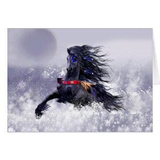 Indisk häst för svart hingst för blått majestätisk hälsningskort