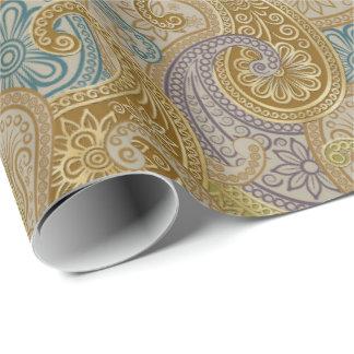 Indisk Paisley damast som upprepar 1C - inpackning Presentpapper