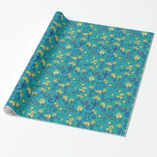 Indisk stil, bohochic, blåttmönster presentpapper