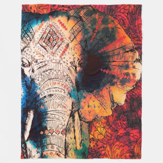 Indiska skissade elefantullfiltar fleecefilt