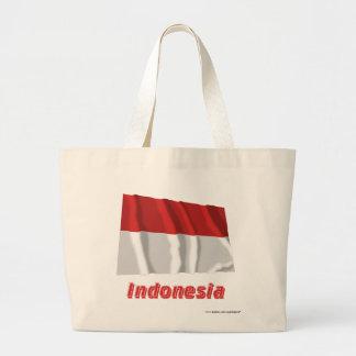 Indonesien som vinkar flagga med namn tote bags