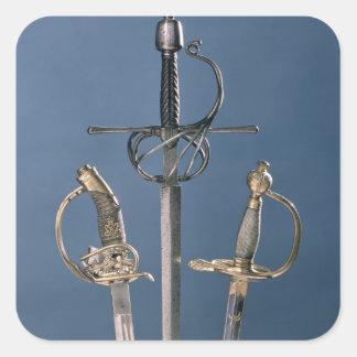 Infanteritjänstemans svärd fyrkantigt klistermärke