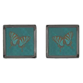 Infödda Swallowtail manschettknappar Manschetterknappar Med Metallgråfinish