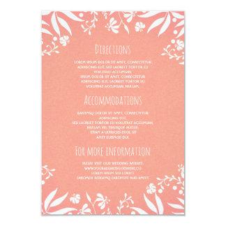 Information om bröllop för vintagevit rosa blom- 8,9 x 12,7 cm inbjudningskort