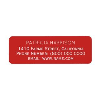 information om returadress på enkelt rött returadress etikett