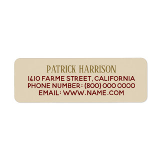 information om returadresskontakt på beige returadress etikett