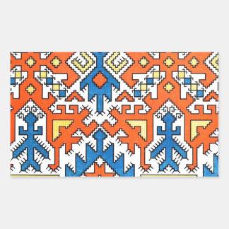 Infött geometriskt mönster 1 rektangulärt klistermärke