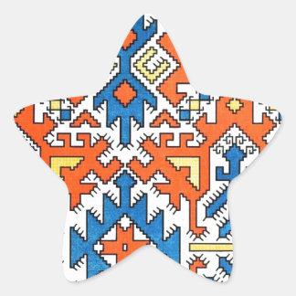 Infött geometriskt mönster 1 stjärnformat klistermärke