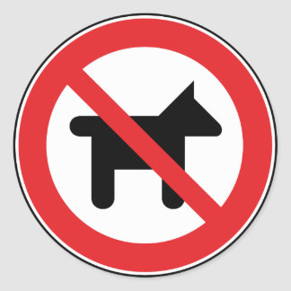 Inga tillåtna hundar runt klistermärke
