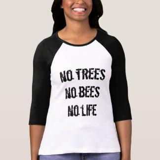 Inga träd inga bin inget liv (svart text) tee shirts