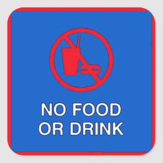 Ingen mat eller drink undertecknar fyrkantigt klistermärke