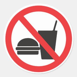 Ingen mat eller drink undertecknar runt klistermärke