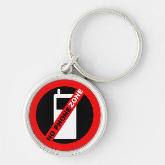 Ingen mobila zona Keychain Rund Silverfärgad Nyckelring