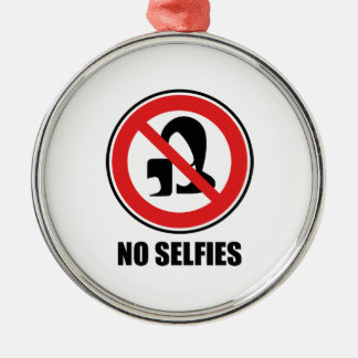 Ingen Selfies Rund Silverfärgad Julgransprydnad