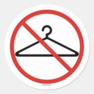 Inget binda hängare! runt klistermärke