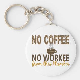 Inget kaffe ingen Workee rörmokare Rund Nyckelring