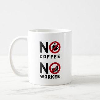Inget kaffe ingen Workee Vit Mugg