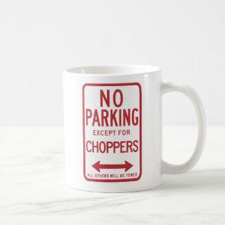 Inget parkera bortsett från avbrytare undertecknar kaffemugg
