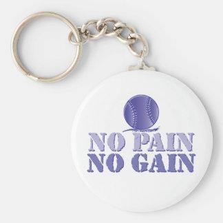 Inget smärta, ingen affärsvinst - softball/basebal rund nyckelring