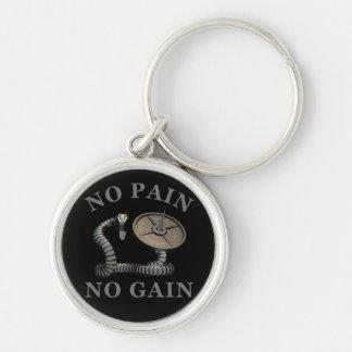Inget smärta ingen Weightlifting Ke för affärsvins Rund Silverfärgad Nyckelring