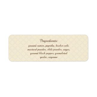 Ingredienser för ört- & för krydda U plockafärg Returadress Etikett