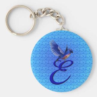 Initial E blåsångare Keychain för Monogram Rund Nyckelring