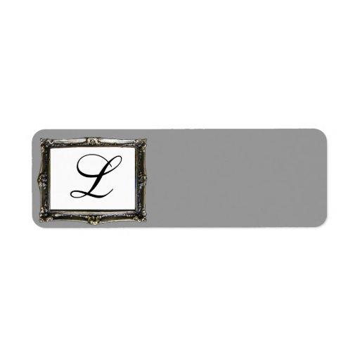 Initial etikett för grå Monogram Returadress Etikett