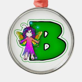 Initial grönt B för keramisk fe för prydnad gullig Julgransprydnad Metall