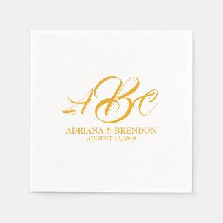 Initial guld- vit för bröllopMonogram Pappersservett
