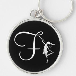 Initial konstfe: F Rund Silverfärgad Nyckelring