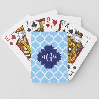 Initial Monogram #5 marinblåa 3 för himmelblått Spel Kort