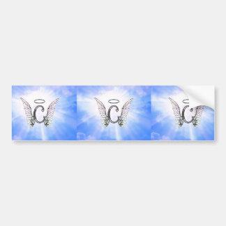 Initial Monogram C med ängelvingar, gloriamoln Bildekal