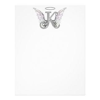 Initial Monogram för brev K med ängelvingar & glor Brevhuvud