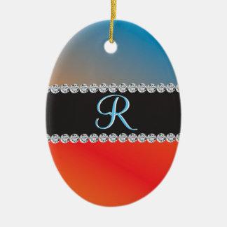 Initial Monogram för diamant 3d för Julgransprydnad Keramik