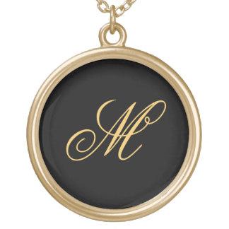 Initial Monogram för enkelt Guldpläterat Halsband