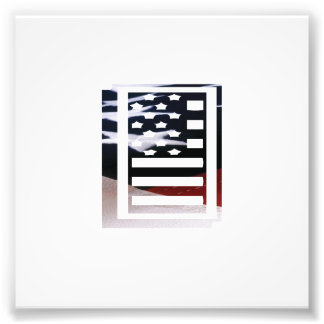 Initial Monogram för USA flaggaamerikan mig Fototryck