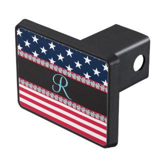 Initial Monogram för USA stars och stripesdiamant Dragkroksskydd