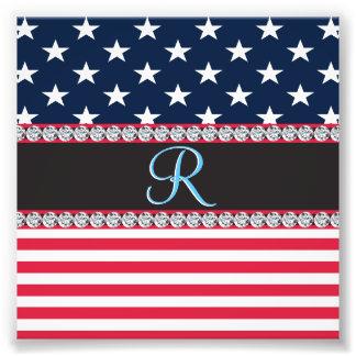 Initial Monogram för USA stars och stripesdiamant Fototryck