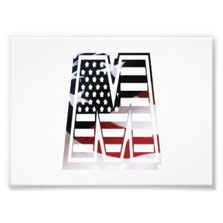 Initial Monogram M för USA flaggaamerikan Fototryck