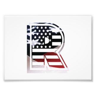 Initial Monogram R för USA flaggaamerikan Fototryck