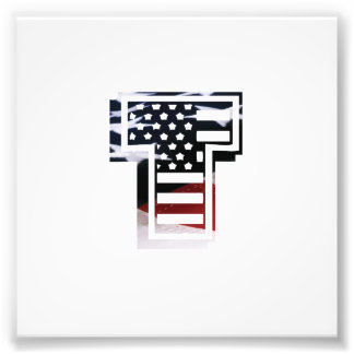 Initial Monogram T för USA flaggaamerikan Fototryck