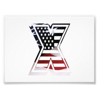 Initial Monogram X för USA flaggaamerikan Fototryck