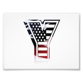 Initial Monogram Y för USA flaggaamerikan Fototryck