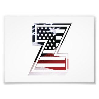 Initial Monogram Z för USA flaggaamerikan Fototryck
