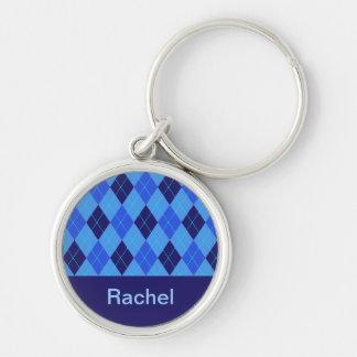 Initial R personifierad känd keychain för Monogram Rund Silverfärgad Nyckelring