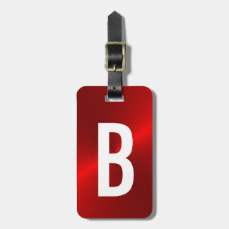 Initial röd borstad metallisk Monogram Bagagebricka