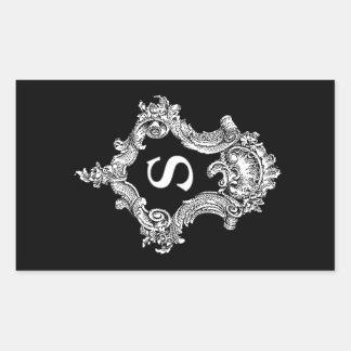 Initial s-Monogram Rektangulärt Klistermärke