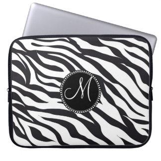 Initial zebra ränder för anpassningsbarpersonligMo Laptopskydd Fodral