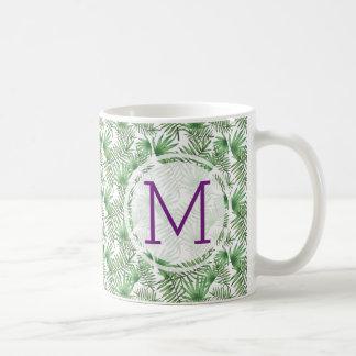 Initiala handflatanlöv och lilor kaffemugg